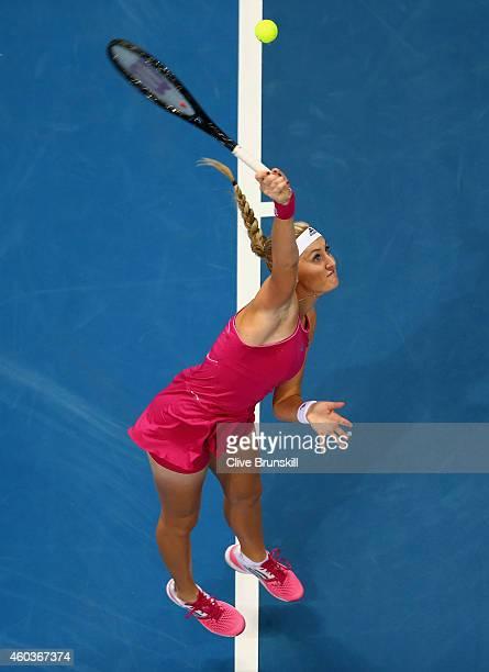 Kristina Mladenovic of the UAE Royals serves against Daniela Hantuchova of the Singapore Slammers during the Coca-Cola International Premier Tennis...
