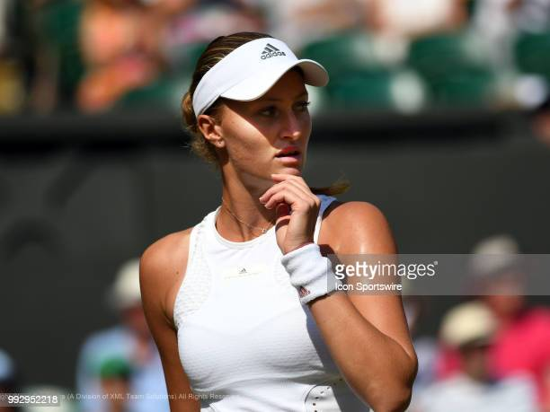 Kristina Mladenovic questions a line call during her third round match during the 2018 Wimbledon Championships on July 6 at All England Lawn Tennis...