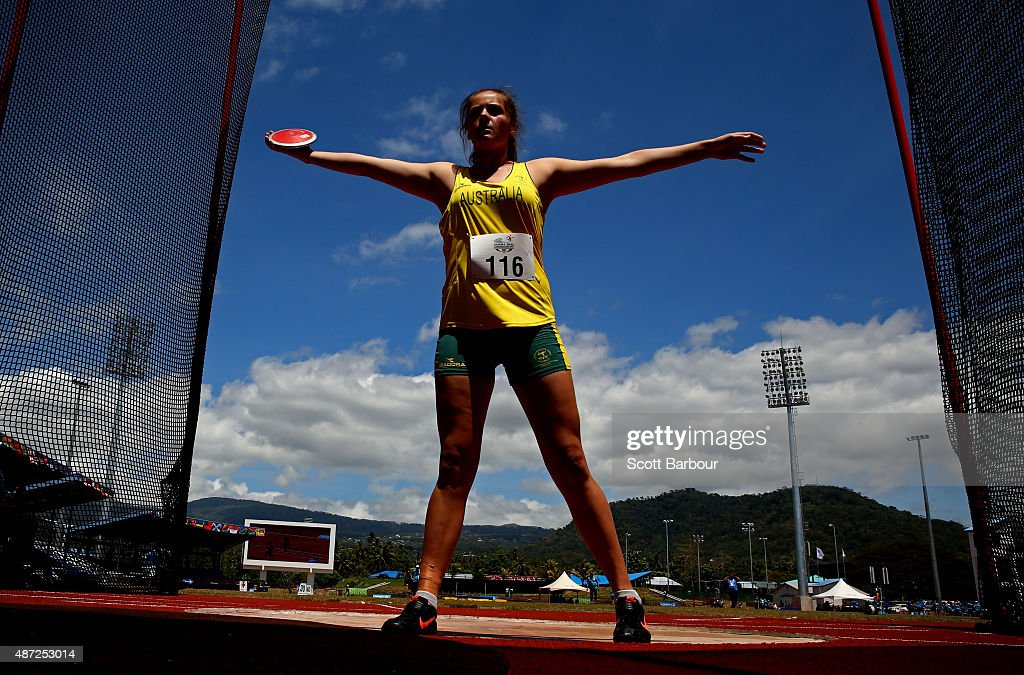 Kristina Moore of Australia prepares to throw in the Girls Discus during the Athletics at the Apia Park Sports Complex on day two of the Samoa 2015 Commonwealth Youth Games on September 8, 2015 in Apia, Samoa.