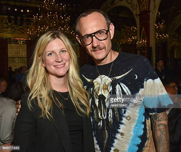 Kristina O'Neill and Terry Richardson attend Brandon Maxwell Front Row September 2016 New York Fashion Week at Russian Tea Room on September 13 2016...