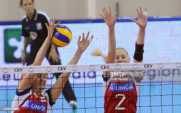 Kristina Pastulova and Sarka Barborkova of Czech Republic defend against during the Women's Volleyball European Championship match between Israel and...