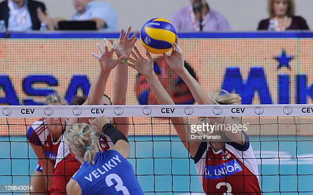 Kristina Pastulova of Czech Republic tries to save a spike against Anna Velikiy of Israel during the Women's Volleyball European Championship match...