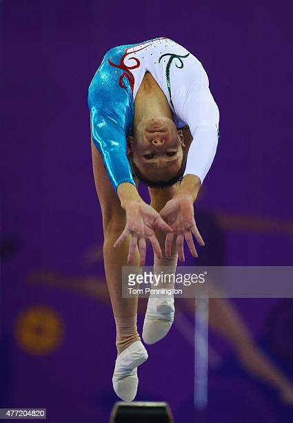 Kristina Pravdina of Azerbaijan competes on the beam during the Women's Artistic Gymnastics Team and All Around qualification on day three of the...