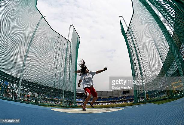 Kristina Rakocevic of Montenegro in action during qualification for the Girls Discus Throw on day one of the IAAF World Youth Championships Cali 2015...