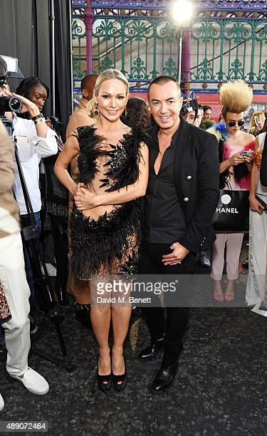 Kristina Rihanoff and Julien MacDonald attend the Julien MacDonald Spring/Summer 2016 Collection during London Fashion Week at Smithfields Market on...