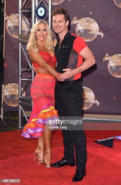 Kristina Rihanoff and Tristan MacManus attend the red carpet launch of Strictly Come Dancing 2015 at Elstree Studios on September 1 2015 in...