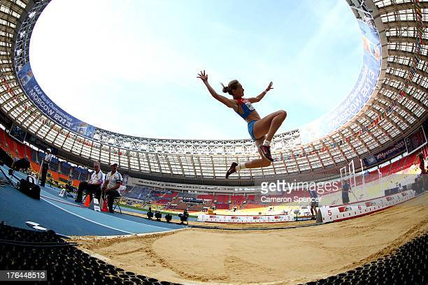 Kristina Savitskaya of Russia competes in the in the Women's Heptathlon Long Jump during Day Four of the 14th IAAF World Athletics Championships...