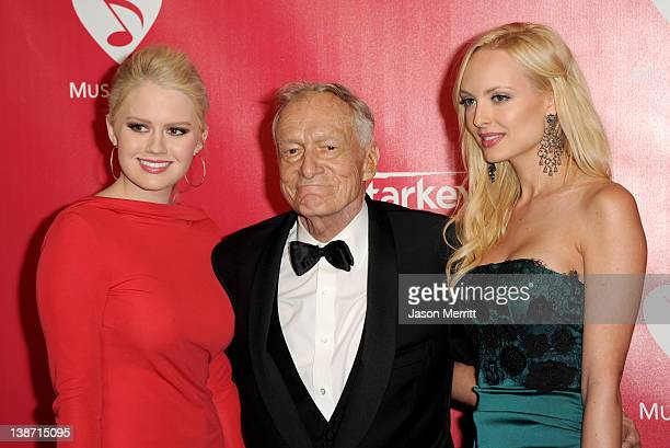 Kristina Shannon Hugh Hefner and Karissa Shannon arrive at the 2012 MusiCares Person of the Year Tribute To Paul McCartney held at the Los Angeles...