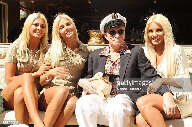 Kristina Shannon Karissa Shannon Hugh Hefner and Crystal Harris attends Hugh Hefner's 83rd birthday pool party at Palms Place at the Palms Resort...