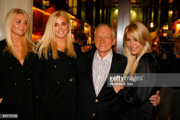 Kristina Shannon Karissa Shannon Hugh Hefner and Crystal Harris attend the Hugh Hefner book signing at Taschen on December 10 2009 in Beverly Hills...
