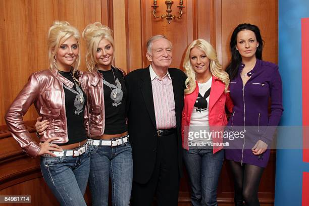 Kristina Shannon Karissa Shannon Hugh Hefner Crystal Harris and Dasha Astafieva attend the Hugh Hefner and Playboy Bunnies Photocall on February 21...