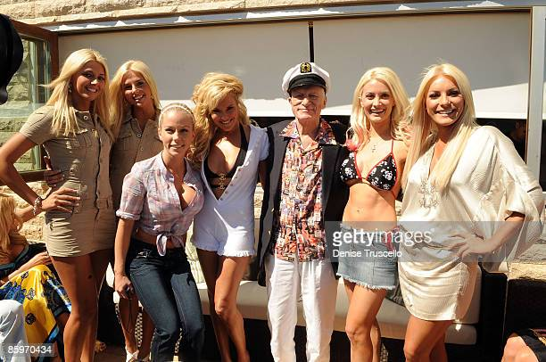 Kristina Shannon, Karissa Shannon, Kendra Wilkinson, Bridget Marquardt, Hugh Hefner, Holly Madison and Crystal Harris attends Hugh Hefner's 83rd...