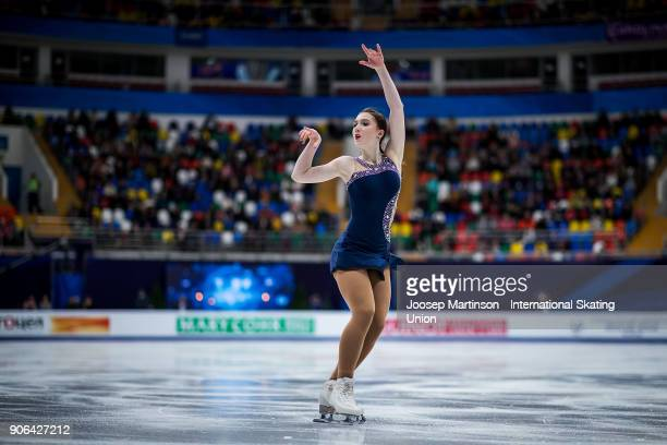 Kristina Shkuleta Gromova of Estonia competes in the Ladies Short Program during day two of the European Figure Skating Championships at Megasport...