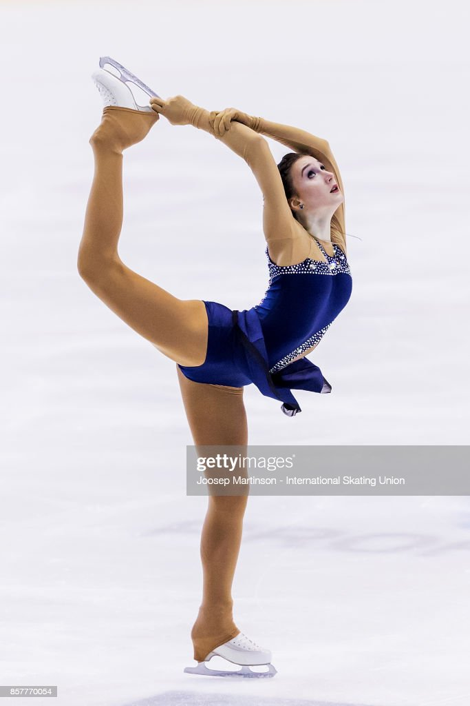 Kristina Shkuleta-Gromova of Estonia competes in the Ladies Short Program during day one of the ISU Junior Grand Prix of Figure Skating at Olivia Ice Rink on October 5, 2017 in Gdansk, Poland.