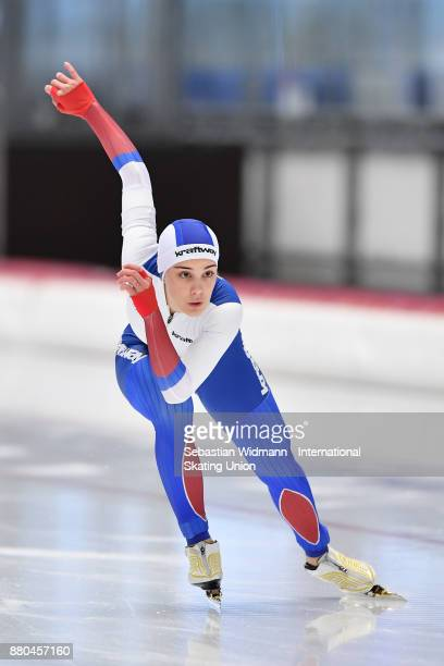 Kristina Silaeva of Russia performs during the Ladies 500 Meter at the ISU Junior World Cup Speed Skating at Max Aicher Arena on November 26 2017 in...