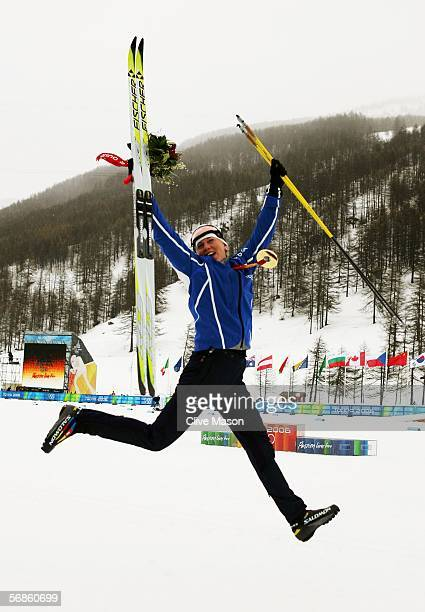 Kristina Smigun of Estonia celebrates winning the gold medal in the Womens Cross Country Skiing 10km Interval Start Final on Day 6 of the 2006 Turin...