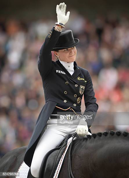 Kristina Sprehe from Germany riding Desperados FRH during the Dressage Grand Prix Special Individual Competition at the Alltech FEI World Equestrian...