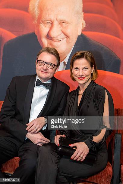 Kristina Sprenger and Gerald Gerstbauer attend Karl Spiehs 85th birthday celebration on March 19 2016 in Vienna Austria