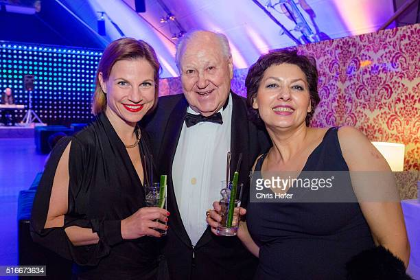 Kristina Sprenger Karl Blecha and Rosi Blecha attend Karl Spiehs 85th birthday celebration on March 19 2016 in Vienna Austria