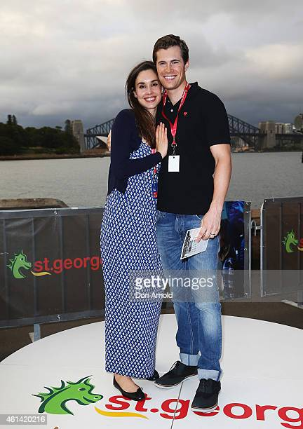 Kristina Tesic and David Berry attend the VIP screening of movie WILD at OpenAir Cinema at Mrs Macquaries Point on January 12 2015 in Sydney Australia