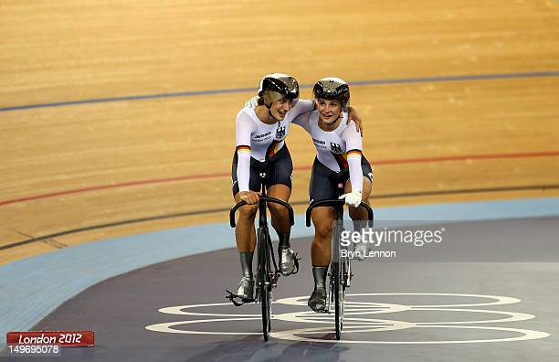 Kristina Vogel and Miriam Welte of Germany congratulate each other after the Women's Sprint Track Cycling final on Day 6 of the London 2012 Olympic...