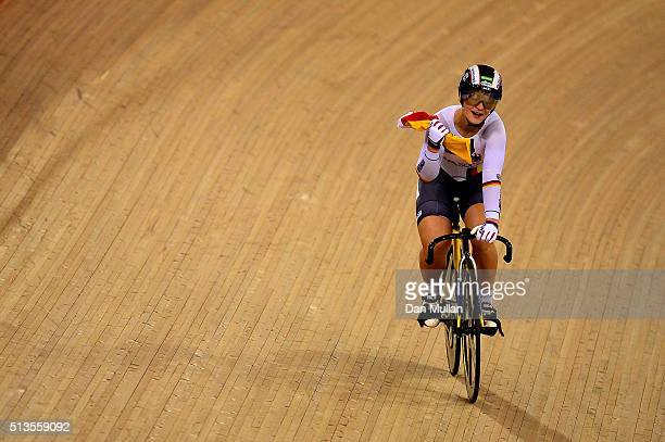 Kristina Vogel of Germany after winning the Women's Keirin final during Day Two of the UCI Track Cycling World Championships at Lee Valley Velopark...