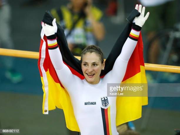 Kristina Vogel of Germany celebrates after winning Women's Sprint Finals on Day 3 in 2017 UCI Track Cycling World Championships at Hong Kong...