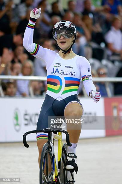 Kristina Vogel of Germany celebrates winning the Womens Sprint Final against Stephanie Morton of Australia during the 2015 UCI Track Cycling World...
