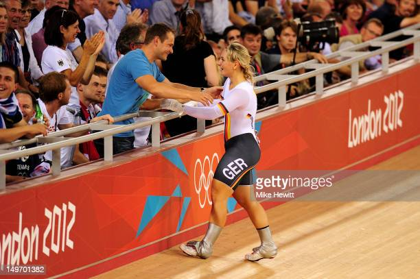 Kristina Vogel of Germany celebrates with family after the Women's Sprint Track Cycling final on Day 6 of the London 2012 Olympic Games at Velodrome...