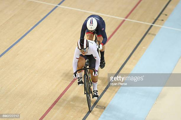 Kristina Vogel of Germany competes against Rebecca James of Great Britain during the Women's Sprint Finals gold medal race on Day 11 of the Rio 2016...