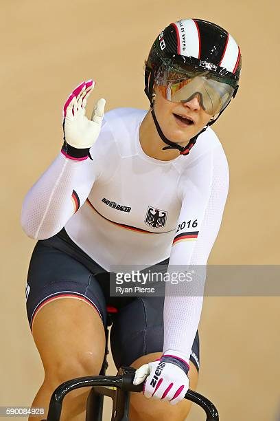 Kristina Vogel of Germany wins race 2 heat 3 during a Women's Sprint Quarterfinal race against Wai Sze Lee of Hong Kong China on Day 11 of the Rio...