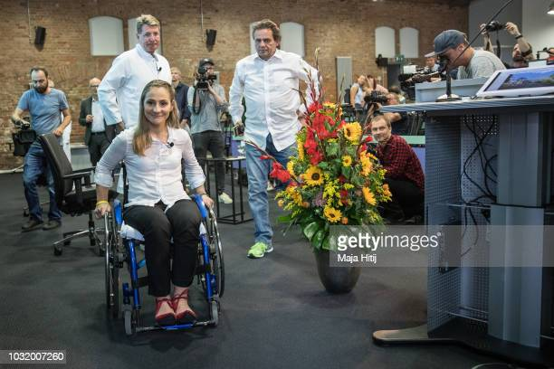 Kristina Vogel Track Cycling Olympic Gold Medalist leaves at a press conference at Accident Hospital on September 12 2018 in Berlin Germany On June...
