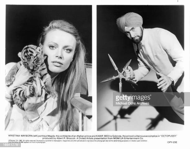 Kristina Wayborn and Kabir Bedi in publicity portraits for the film 'Octopussy' 1983