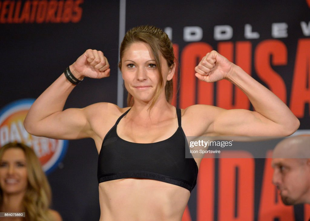 Kristina Williams pose for photos at the weigh-in. Heather Hardy will be challenging Kristina Williams in a Flyweight bout on October 19, 2017 at Bellator 185 at the Mohegan Sun Arena in Uncasville, Connecticut.