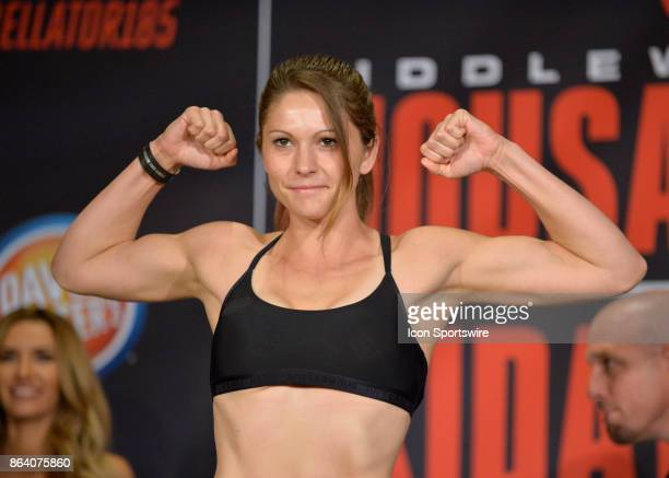 Kristina Williams pose for photos at the weighin Heather Hardy will be challenging Kristina Williams in a Flyweight bout on October 19 2017 at...