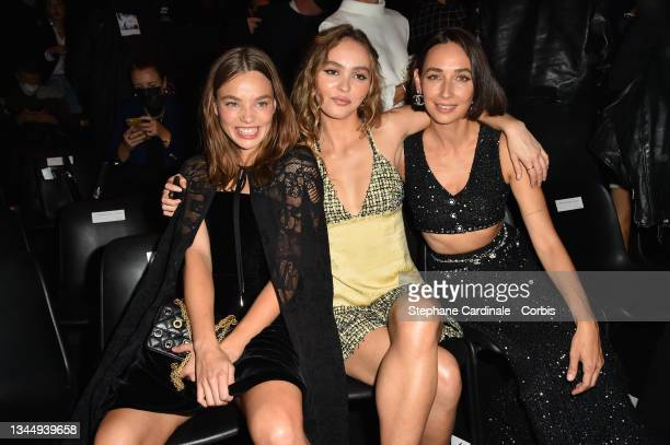 Kristine Froseth, Lily-Rose Depp and Rebecca Dayan attend the Chanel Womenswear Spring/Summer 2022 show as part of Paris Fashion Week on October 05,...