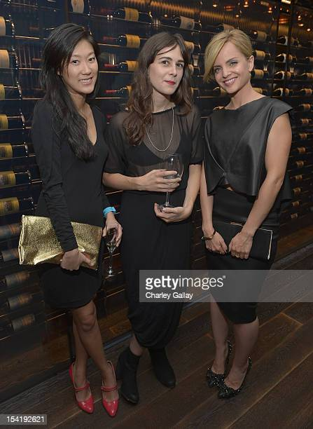 Kristine Kim designer Shaina Mote and actress Mena Suvari attend GenArt's 14th Annual Fresh Faces In Fashion Intimate Dinner at Andaz on October 15...