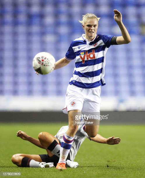 Kristine Leine of Reading FC Women is challenged by Ciara Watling of Charlton Athletic Women during the FA Women's Continental League Cup match...