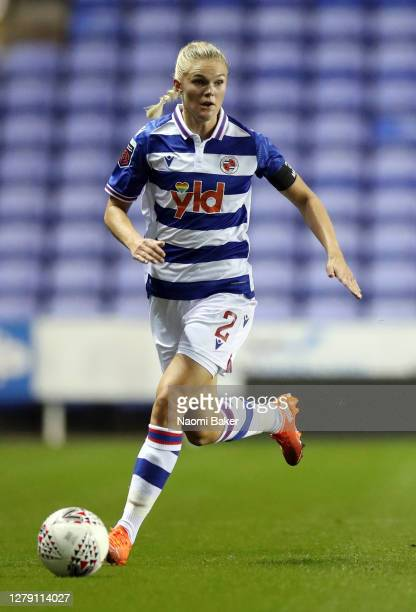 Kristine Leine of Reading in action during the FA Women's Continental League Cup match between Reading and Charlton Athletic at Madejski Stadium on...