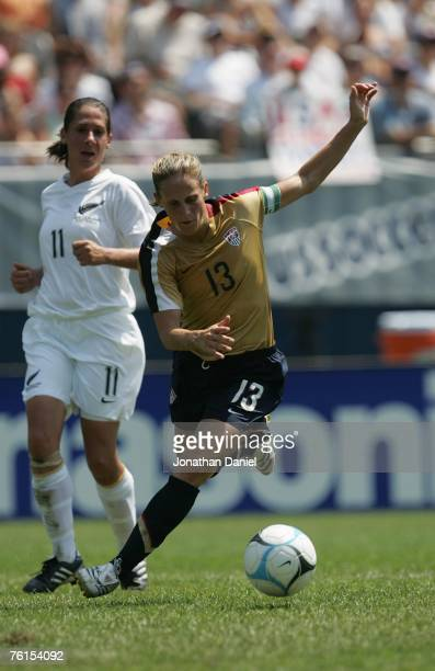 Kristine Lilly of the US Women's National Team dribbles the ball against New Zealand during a women's soccer International Friendly match on August...