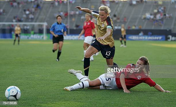 Kristine Lilly of the USA gets the ball past Siri Nordby of Norway in the second half during the Women's World Cup SendOff Series on July 14 2007 at...