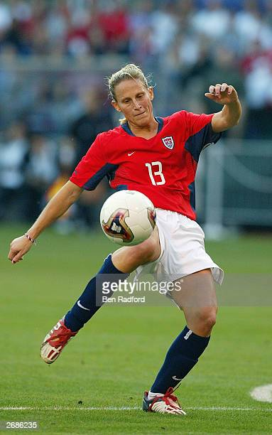 Kristine Lilly of the USA sets to kick the ball against Germany during the semifinals of the FIFA Women's World Cup match on October 5 2003 at PGE...