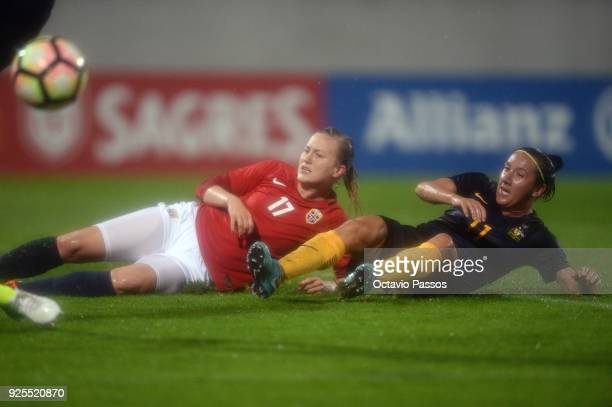 Kristine Minde of Norway competes for the ball with Lisa De Vanna of Australia during the Women's Algarve Cup Tournament match between Norway and...