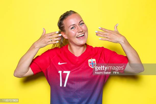 Kristine Minde of Norway poses for a portrait during the official FIFA Women's World Cup 2019 portrait session at Hotel Novotel Reims Tinqueux on...