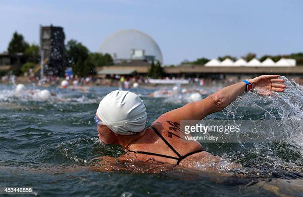 Kristine Plant of Canada competes in the Women's 4549 Age Group 3km swim during the 15th FINA World Masters Championships at Parc JeanDrapeau on...