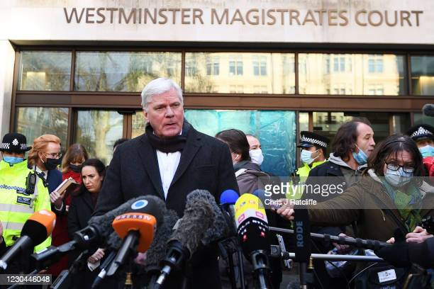 Kristinn Hrafnsson, editor-in-chief of WikiLeaks gives a statement outside Westminster Magistrates' Court after Julian Assange was refused bail on...