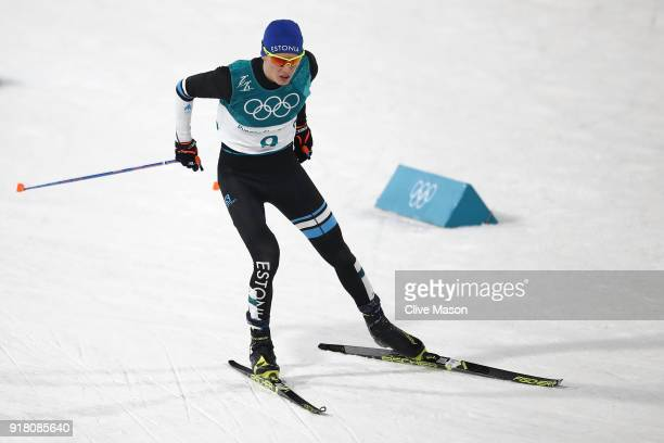 Kristjan Ilves competes during the Nordic Combined Individual Gundersen Normal Hill and 10km Cross Country on day five of the PyeongChang 2018 Winter...