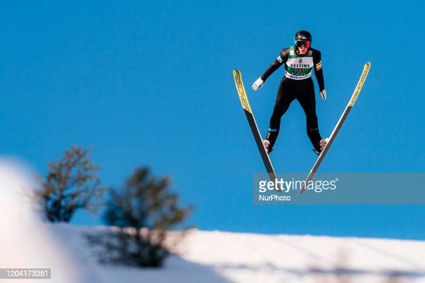 Kristjan Ilves during the trial jump prior to Nordic Combined HS130 Qualification of the FIS Nordic Ski World Championships in Lahti, Finland, on...
