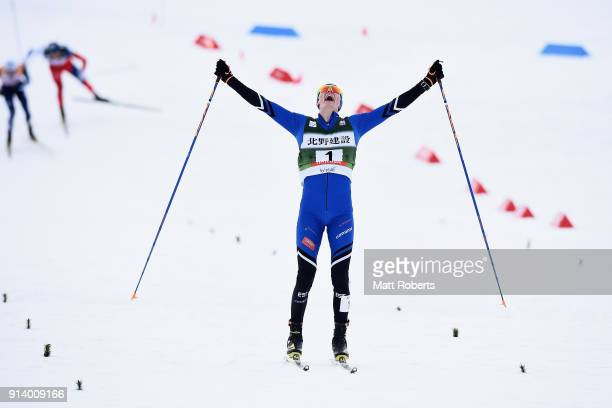 Kristjan Ilves of Estonia celebrates placing second in the Individual Gundersen LH/10km during day two of the FIS Nordic Combined World Cup Hakuba on...
