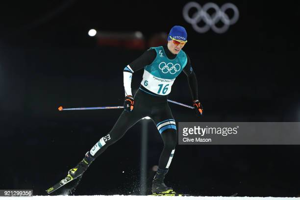 Kristjan Ilves of Estonia competes during the Nordic Combined Individual Gundersen 10km CrossCountry on day eleven of the PyeongChang 2018 Winter...